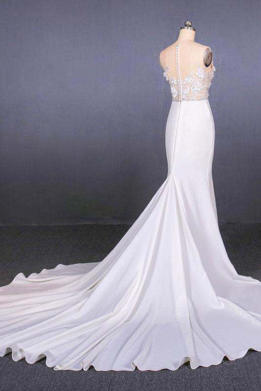 See-Through Neckline Lace Appliques Mermaid Wedding Dresses PW93