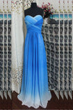 Cut Out Beading Back Long Prom Dress, Sweetheart Blue Ombre Formal Dress MP1148
