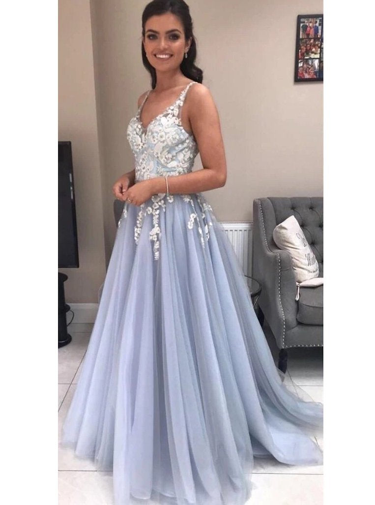 A-line v-neck tulle long prom dresses with lace appliques mg168