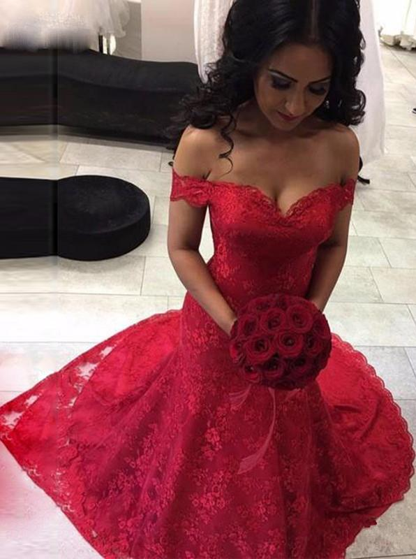 Red mermaid lace prom dresses off the shoulder long pageant gown mg106