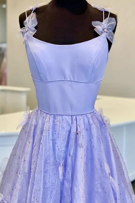 Lilac tulle long a line prom gown handmade flower evening dress mg166