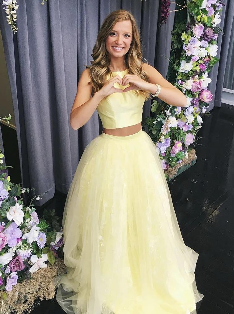Two piece tulle simple long prom dress, yellow military ball dresses mg159