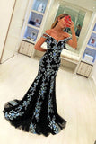 Elegant Black Mermaid Prom Dress With Appliques Formal Party Gown MP780