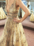 Sparkly A-line V-neck Tulle Beading Starry Night Prom Dresses MP116