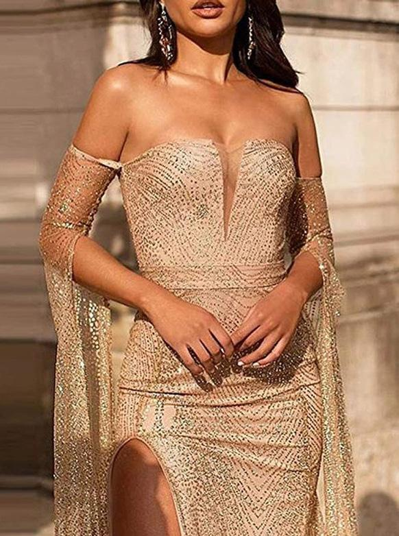 Off-Shoulder Long Prom Dresses with Sleeves, Sexy Sequins Evening Dresses MP109
