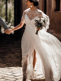 Two Piece Lace Chiffon Convertible Beach Wedding Dresses With Split PW84
