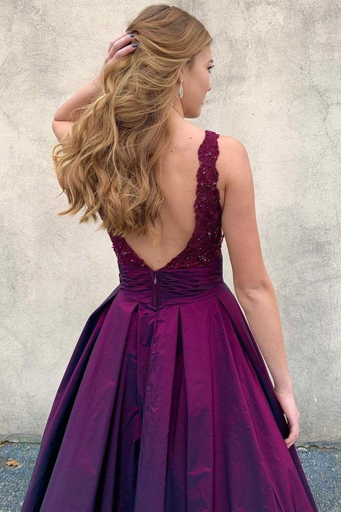 V neck purple long a-line prom dresses, satin lace top formal evening dresses mg06