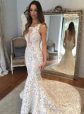 Square Illusion Back Court Train Mermaid Lace Wedding Dress PW26