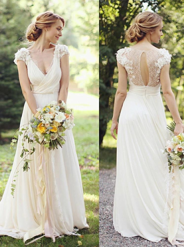 A-Line V-Neck Ivory Chiffon Beach Wedding Dress with Appliques PW30