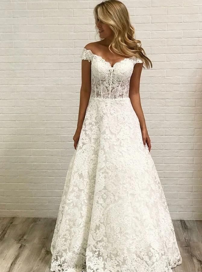 Off Shoulder Sleeveless Lace Wedding Dresses, A-line Lace Bridal Gown PW33
