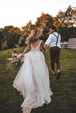 Flowy A-line V-neck Boho Wedding Dress With Appliques Beading PW56