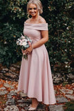 Off Shoulder Ankle Length High Low Pink Bridesmaid Dresses PB42
