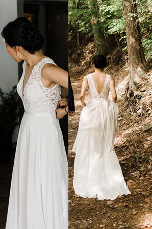 A-line Sheer Round Neckline Lace Chiffon Beach Wedding Dress PW87
