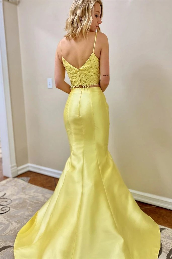 Mermaid yellow 2 pieces prom dresses, two pieces fomral evening dresses mg05