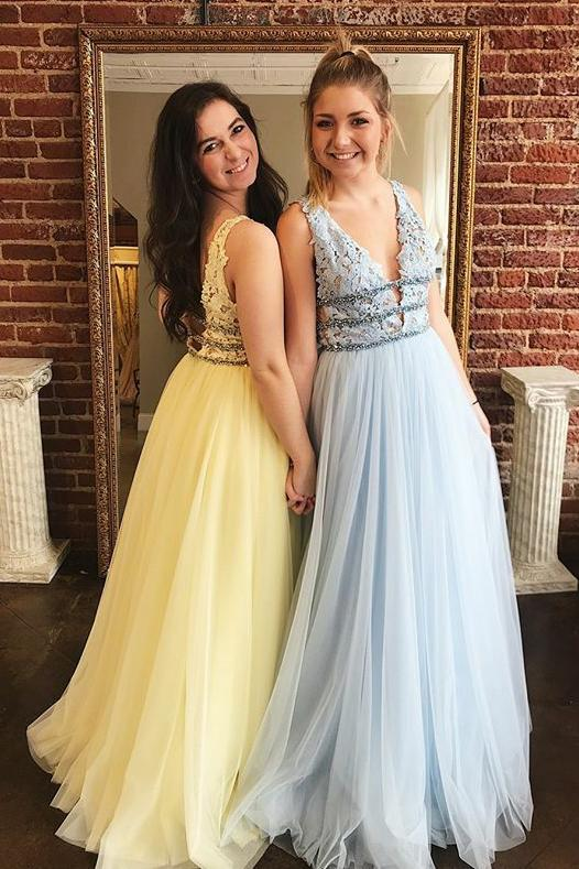 Long lace tulle prom dresses, a-line graduation dresses with beading mg24