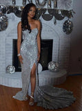 Silver Mermaid Sweetheart Long Prom Evening Dresses With Split MP97