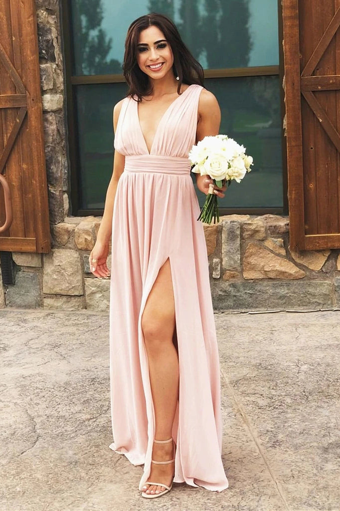 A-line V-neck Long Chiffon Bridesmaid Dress, Simple Wedding Guest Dress PB197
