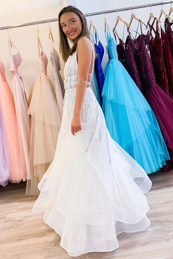 A-line V Neck Tulle Sequins Long Prom Dress, Backless Evening Dress MP151
