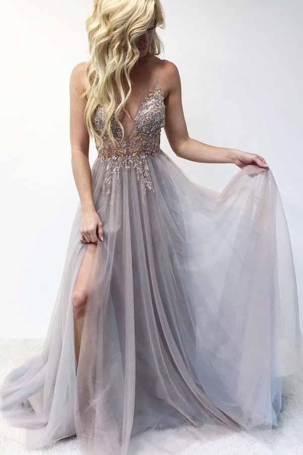 Spaghetti Straps Beaded Bodice Long Prom Dress with Slit MP353