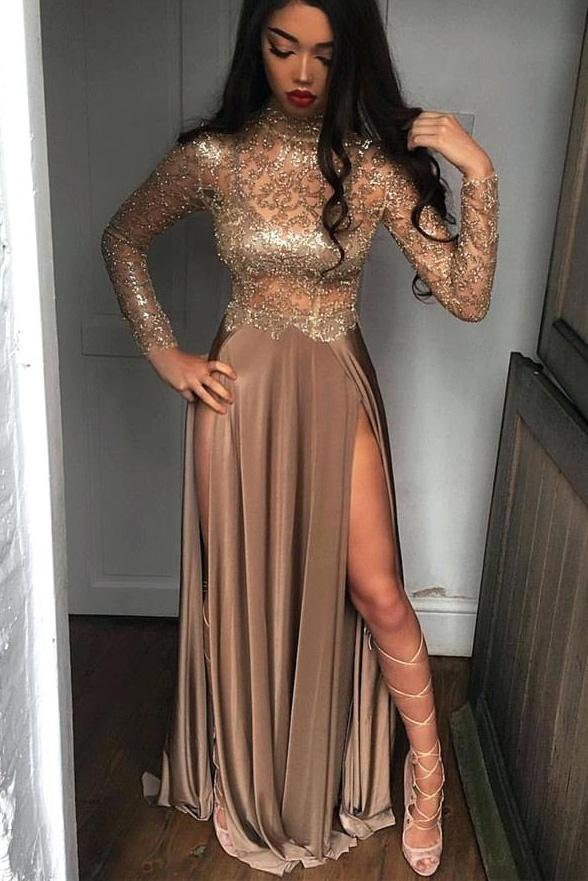 sheer sequins long sleeves prom dress sexy high slits party dress mp882