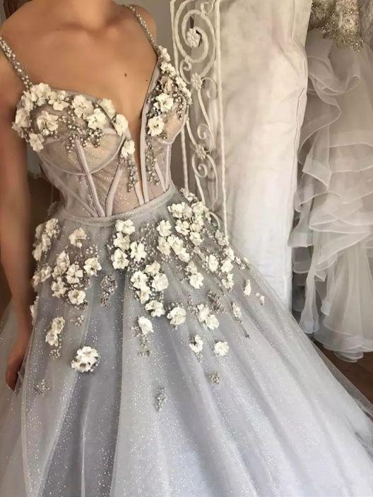 sparkly dusty silver 3d floral ball gown long wedding dress pw263