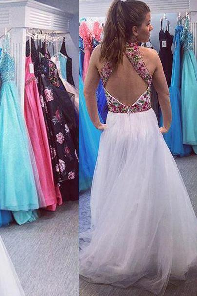 white long prom dress high neck open back with floral applique mp849