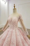 Sheer neck ball gown long sleeves blushing pink prom dress mg125