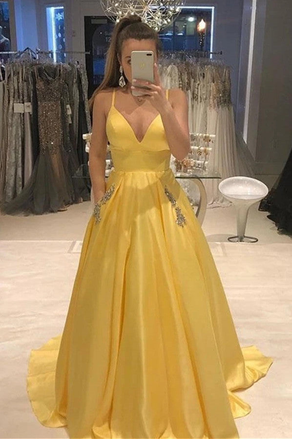 Spaghetti-straps V-neck Yellow Satin Prom Dress with Beaded Pockets MP325