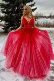 A-line V-neck Red Ombre Prom Dress, Ombre Beading Long Formal Dress MP1106