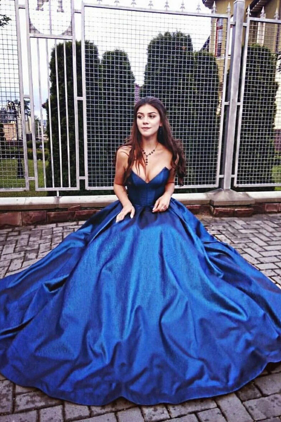 Royal Blue A-line Sweetheart Long Prom Dress, Elegant Sleeveless Foraml Gown MP1108