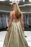 Buy Sparkly Spaghetti-straps V-neck Satin Lace Up Prom Pageant Dresses MP789