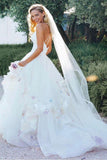 Princess Floral Appliques Bridal Gown Backless Wedding Dress PW166