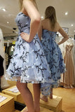 Light Blue Strapless Homecoming Dress, Hi-Low Short Prom Dress With Applique MP1143