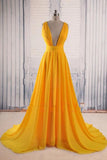 A-line Yellow Long Prom Gown Cross-Back Chiffon Evening Dress MP95