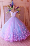 Princess Quinceanera Dress Puffy Tulle Lace Ball Gown Prom Dress With Appliques MP123