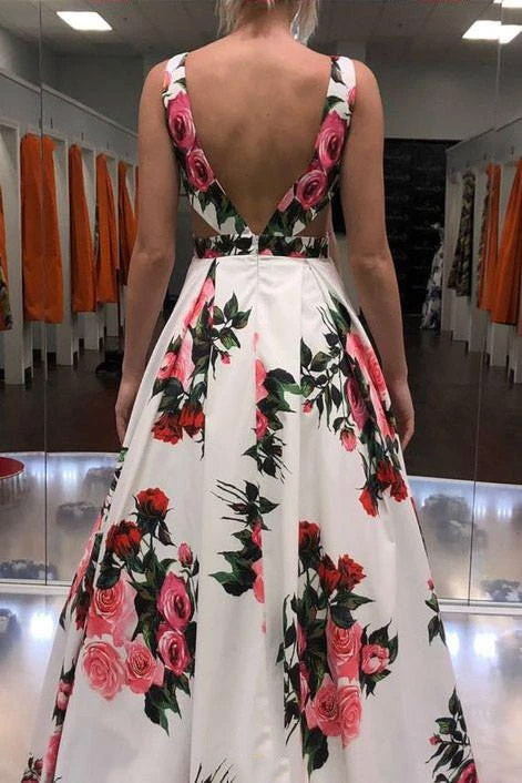 Sexy A-line V-neck Spring Floral Printed Long Prom Dress With Pockets MP792