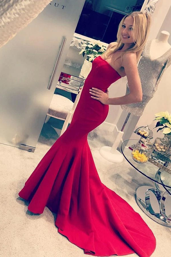 Strapless Trumpet Prom Dress Mermaid Red Satin Evening Dress MP991