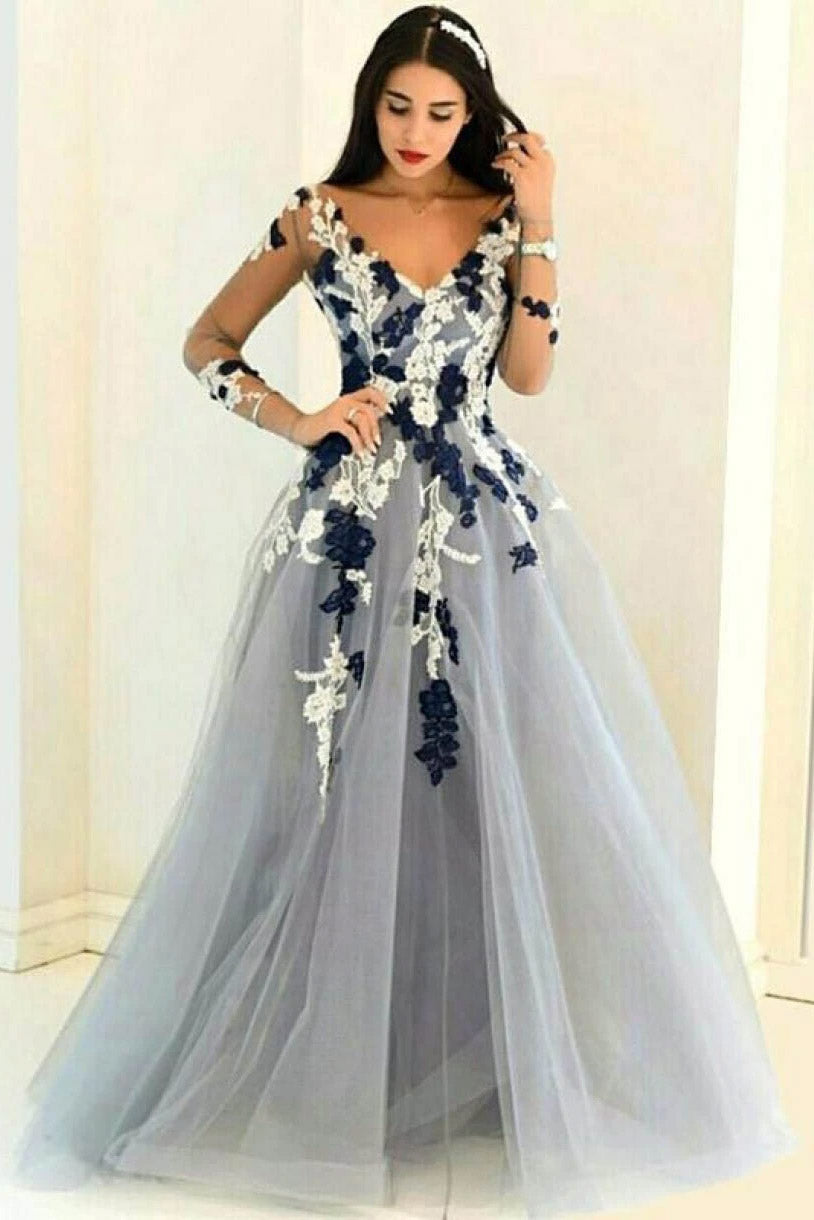 A-Line/Princess V-Neck Tulle Appliques Prom Dress With Long Sleeves MP986