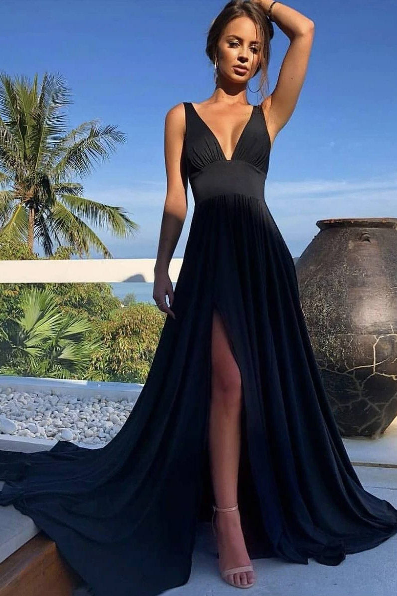 Simple A-line V-neck Long Black Prom Dress, Sexy Evening Dress With Split MP12