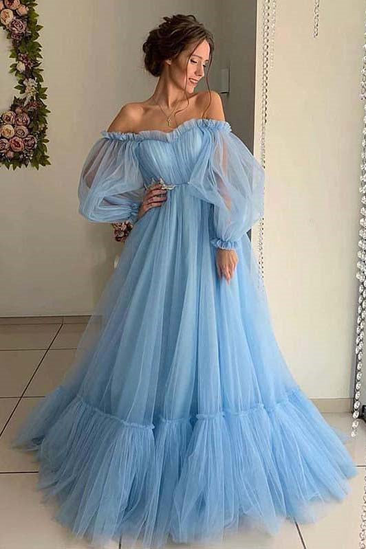 Tulle Sweetheart A Line Prom Dresses With Long Sleeves MP1190