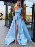 Simple long prom dresses light sky blue evening dress with split mg173