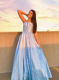 Light blue long prom dress with beaded pockets, long formal graduation dresses mg08