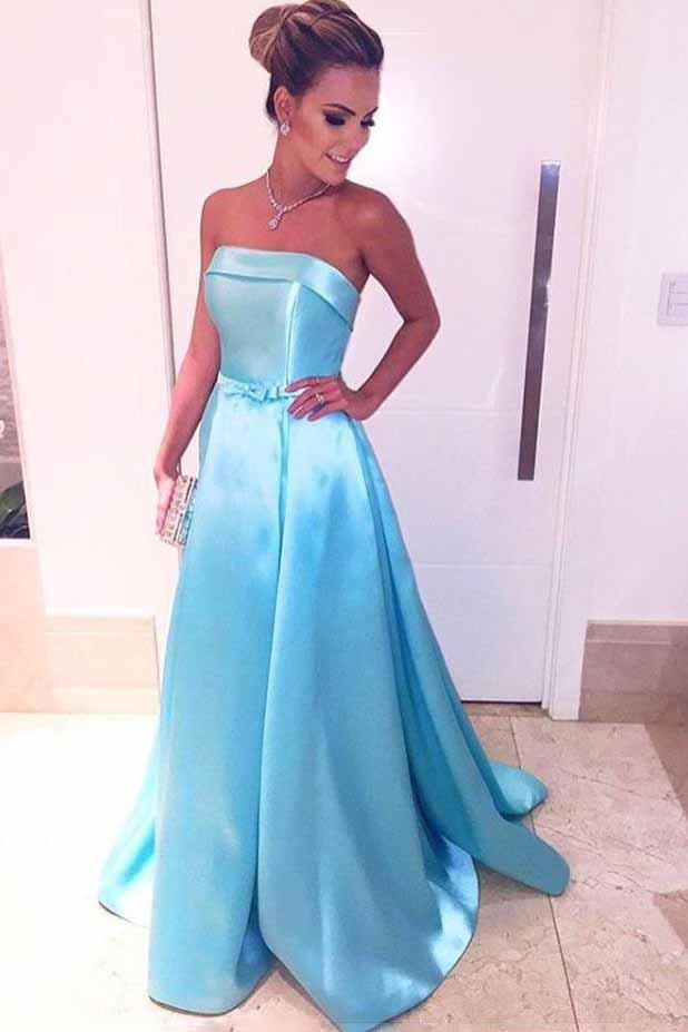 Ice Blue Strapless Prom Dresses Satin Long Evening Dresses with Waist Bow MP296