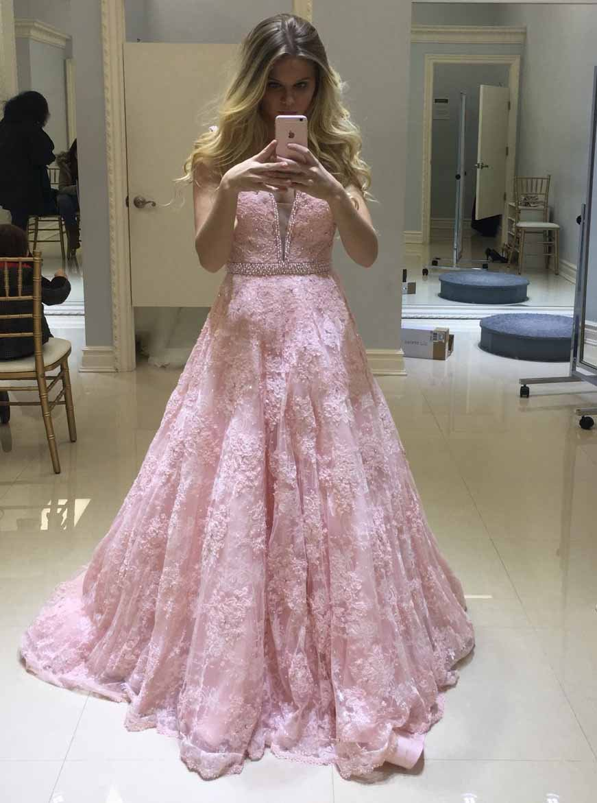 Stunning A Line V-neck Lace Beaded Pink Prom Dresses Long MP294