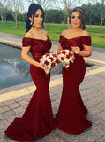 Off Shoulder Mermaid Dark Red Long Bridesmaid Dresses with Sequins PB110