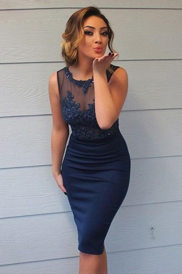Round Neck Sheath Dark Blue Knee-Length Bridesmaid Dress with Appliques PB106
