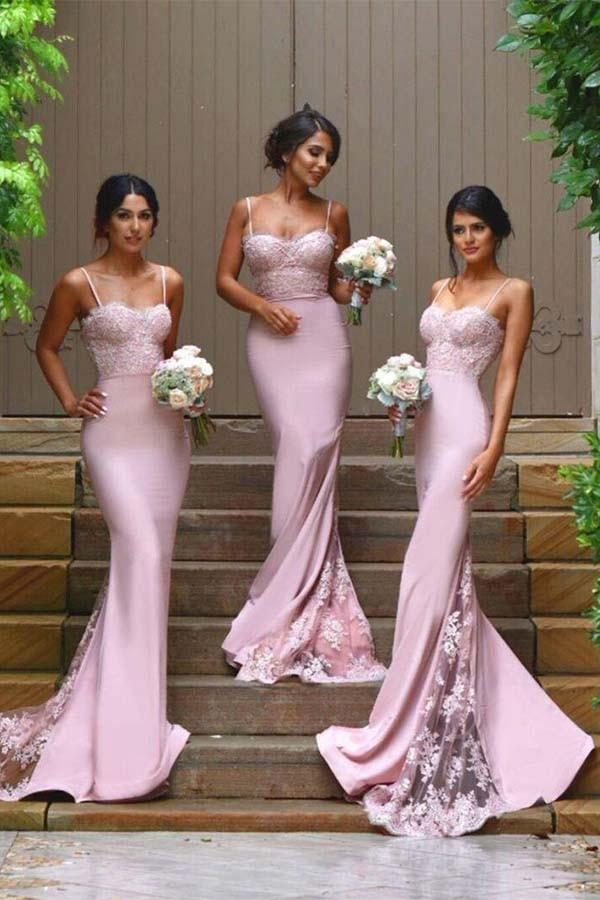 Spaghetti Straps Mermaid Pink Long Bridesmaid Dresses with Lace Appliques PB108