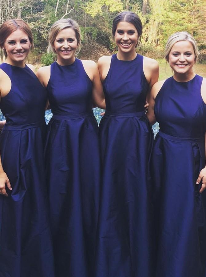 A-Line Jewel Satin Royal Blue Long Bridesmaid Dresses PB100