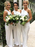 One-Shoulder Floor-Length Sheath Bridesmaid Dresses with Ruched PB98