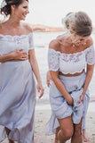 Beach Off-Shoulder Ankle-Length Two Piece Bridesmaid Dresses with Lace PB96